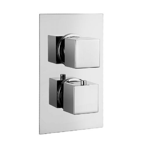 Abacus Emotion Square Thermostatic Dual Outlet Shower Mixer Valve - Chrome
